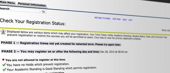 screenshot of checking registration status