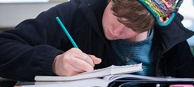 photo of student writing