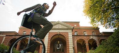 photo of unicyclist speeding
